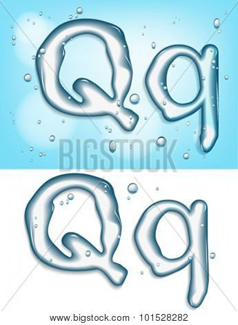 alphabet water, letter q
