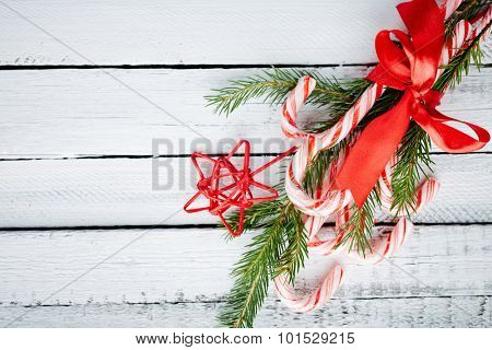 Christmas bouquet made up of candy canes, red star and conifer
