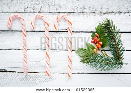 Cane candies, conifer and guelder over wooden background