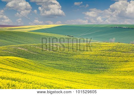 Landscape of colorful hills, springtime beautiful day, Czech Republic, Europe