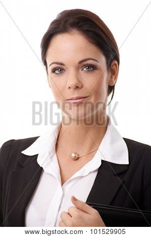 Closeup portrait of smiling young businesswoman.