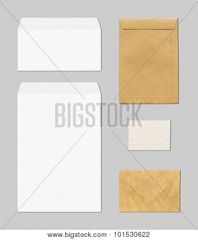 Envelopes Mockup Template, Grey Background