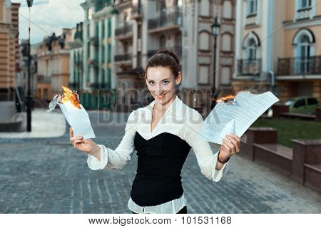 Girl With Joy On Her Face Burn Documents.