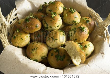 Basket with bread rolls