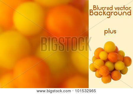 Yellow cherry tomatoes. Blurred vector background and photo realistic yellow and orange tomatoes (me