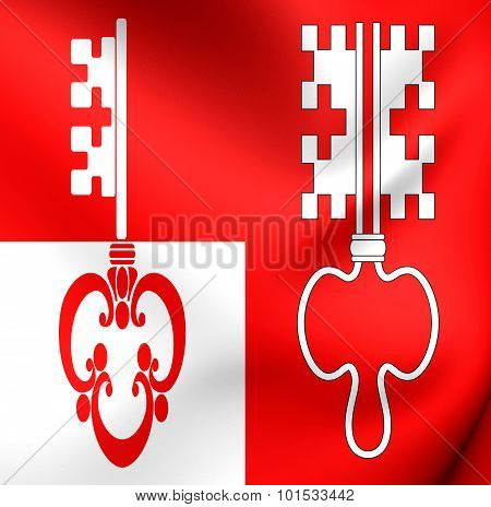 Flag Of Unterwalden Canton, Switzerland.