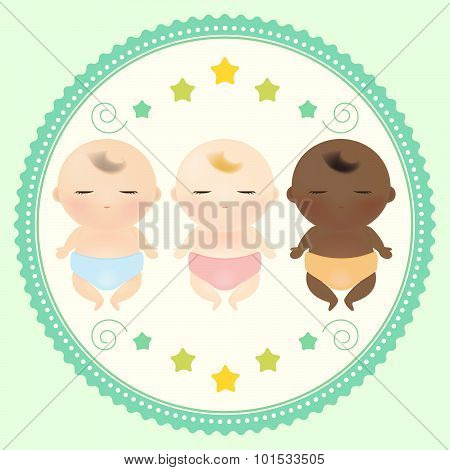 Multicultural babies sleeping.