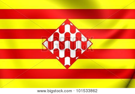 Flag Of Girona Province, Spain.