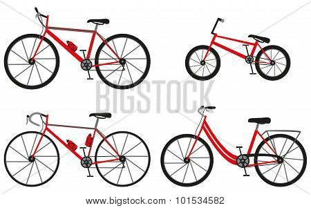 Four kinds of bicycles: mountain (or cross-country) bike, road bike, city bike and bmx bike. Vector