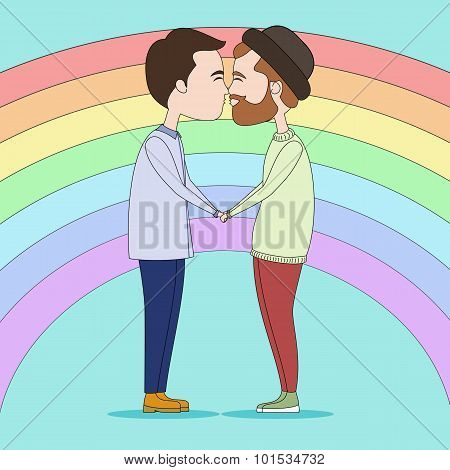 Kissing gays on rainbow background