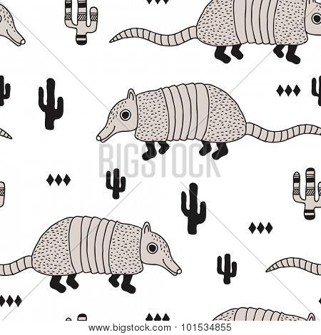 Seamless armadillo wildlife animals illustration with cactus and geometric abstract details black and white background pattern in vector