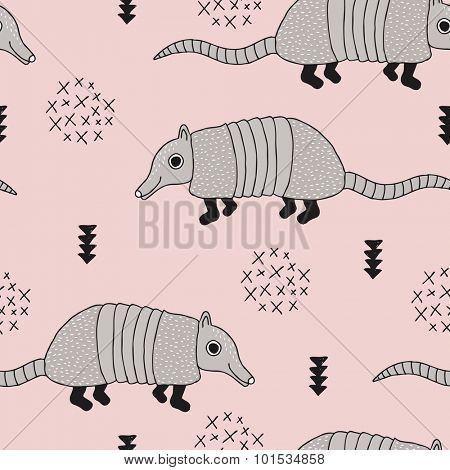 Seamless armadillo wildlife animals illustration with indian arrows and geometric abstract details pastel pink background pattern in vector