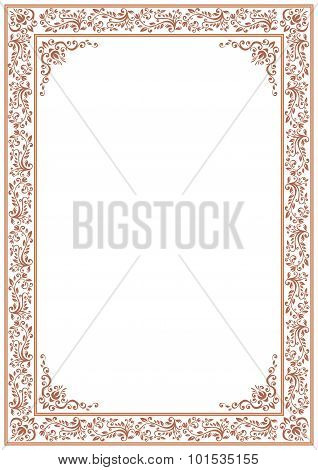 Ornate Brown Floral Border