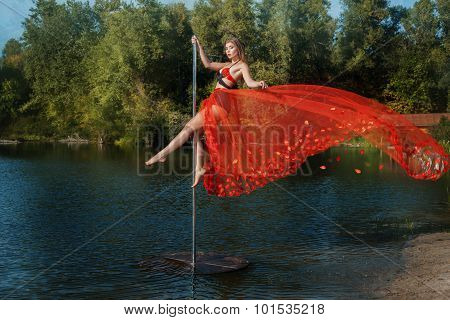 Girl Dancing On A Pole.
