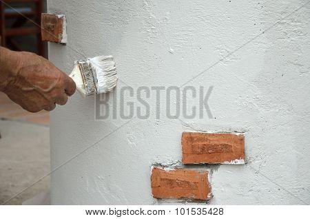 Painting Brush On White Wall