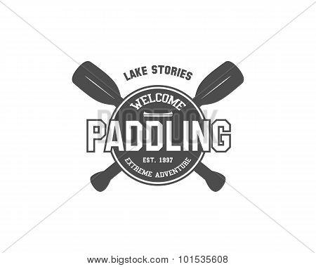 Vintage paddling, kayaking, canoeing camp logo, labels and badges. Stylish Monochrome outdoor design