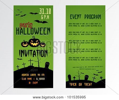 Happy Halloween Greeting Cards, Flyer. Vector Illustration. Party Invitation Design with Emblem. Typ