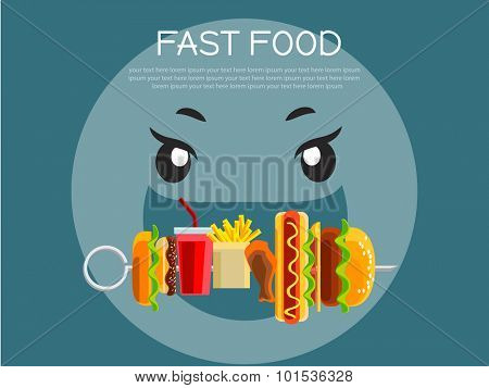 Fast food concept banner flat design. Cartoon person with opened mouth eating food on skewer