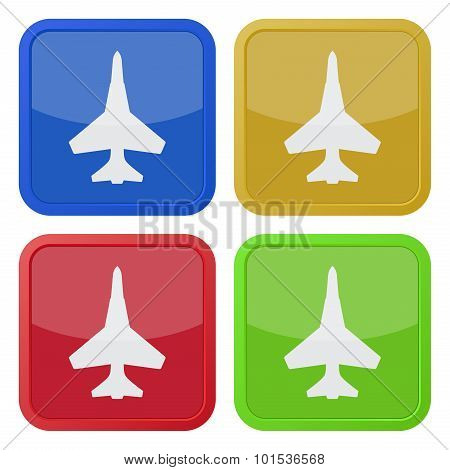 Set Of Four Square Icons With Fighter