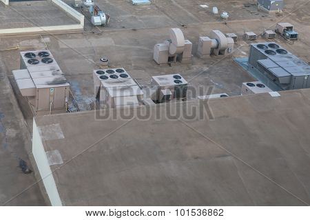 Industrial Air Conditioner Units On A Rooftop