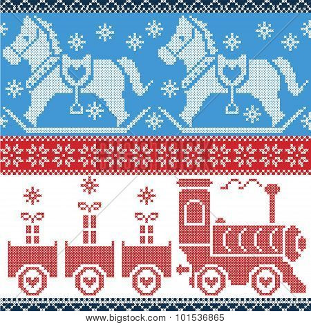 Blue , red , and white  Scandinavian seamless Nordic pattern with gravy train, Xmas gifts, hearts, r