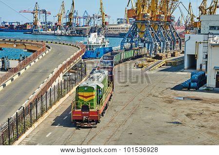 Cargo Train In Port Odessa, Ukraine