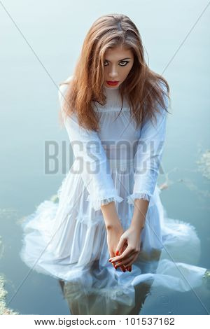 Beautiful Girl Standing In The Water Dress.