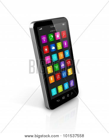 Smartphone With Apps Icons Interface