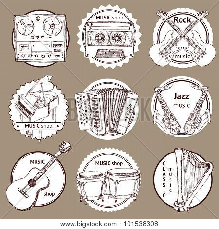 Sketch Set Of Logo With Musical Instruments