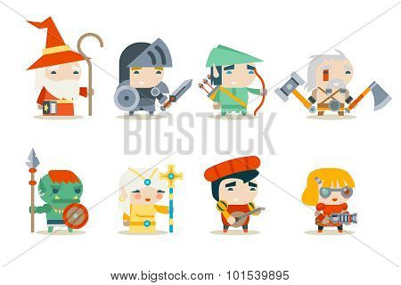 Fantasy RPG Game Character Icons Set Vector Illustration
