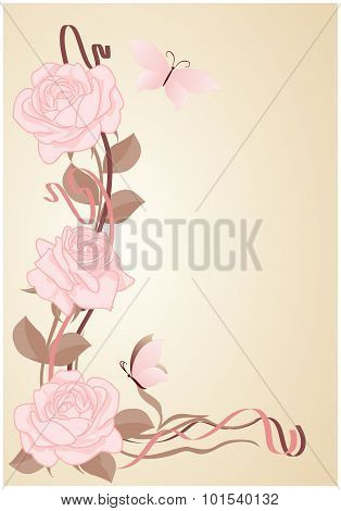 Three pink roses and butterflies on a pale pink background.
