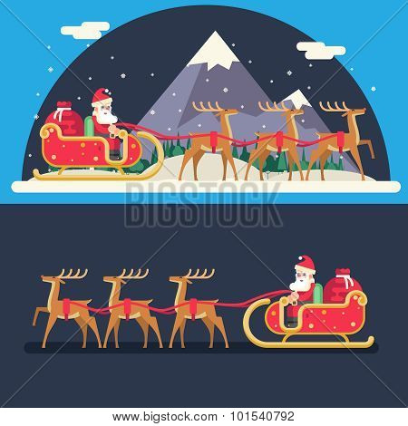 Santa Claus Sleigh Reindeer Gifts Winter Snow Landscape New Year Christmas Night Background Flat Des