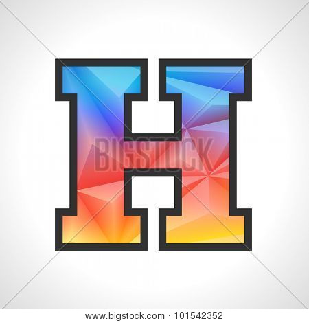 Vector Geometric Gradient Design Triangular Polygonal Font. Children style Letter H