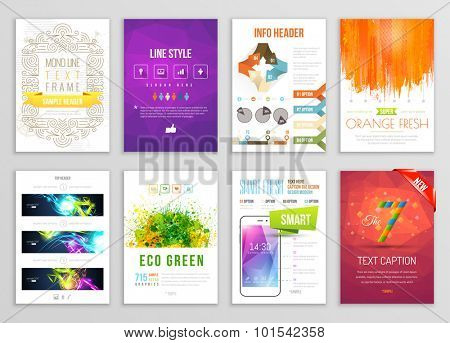 Set of Flyer, Brochure, Background, Infographic, Banner, App Designs. Vector Poster Templates. Paint Splashes Abstract Background for Business Card