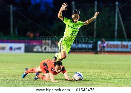 Sisaket Thailand-september 12: Khapfa Boonmatoon Of Sisaket Fc. (orange) In Action During Thai Premi