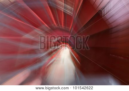 Like A Dream Abstract Spiral Staircase With Red Carpet