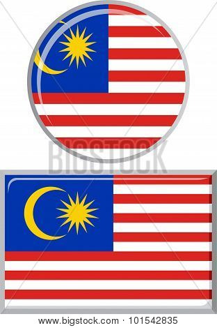 Malaysian round and square icon flag. Vector illustration.