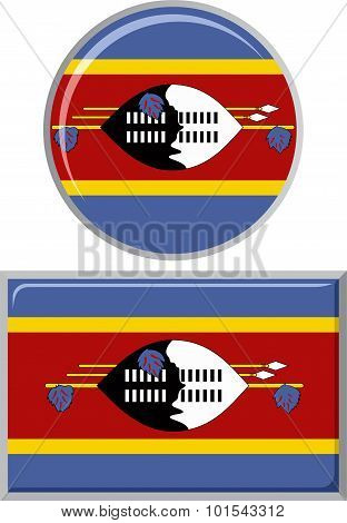 Swaziland round and square icon flag. Vector illustration.