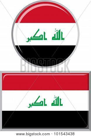 Iraqi round and square icon flag. Vector illustration.
