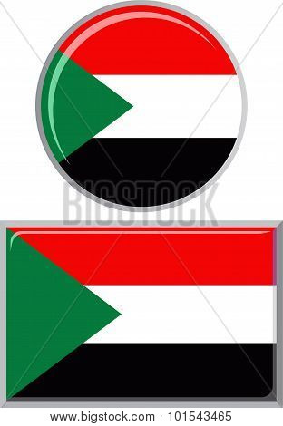 Sudanese round and square icon flag. Vector illustration.