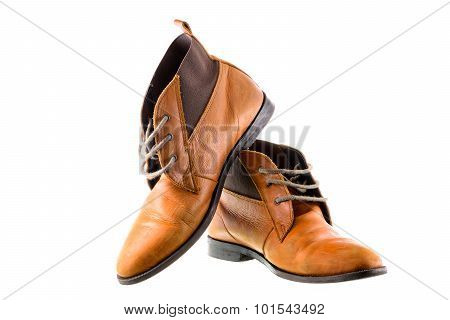 Brown leather shoes with wooden shoe stretchers on white background