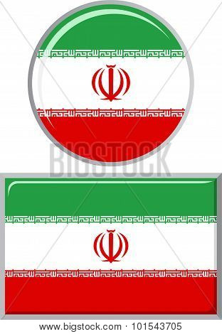 Iranian round and square icon flag. Vector illustration.