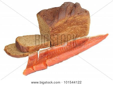black bread and red fish isolated on white background