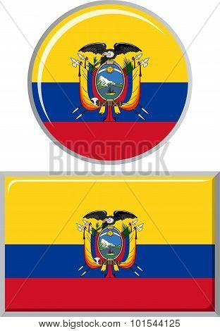 Ecuadorian round and square icon flag. Vector illustration.