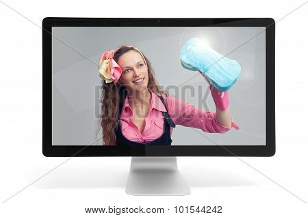 Housewife In Computer Monitor