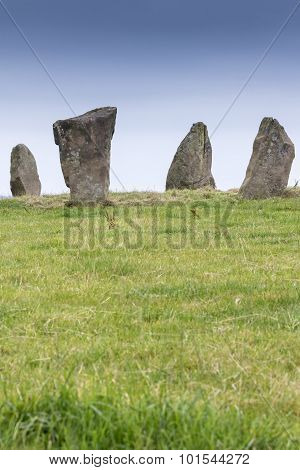 Neolithic Standing Stones At Nine Stones Close, Derbyshire, England