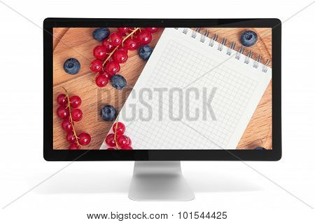 Berries And Notepad With Copy Space
