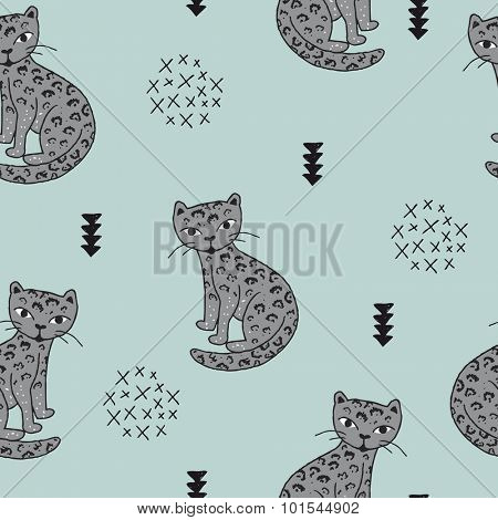 Seamless wildlife animals tiger panther leopard cat illustration with geometric scandinavian style details kids background blue pattern in vector