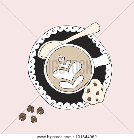 Cappuccino coffee foam art barista hipster cookie illustration cup of coffee background pattern in vector pink