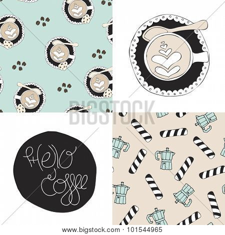 Seamless coffee background pattern in vector and hipster cappuccino barista milk art illustration print template isolated in vector